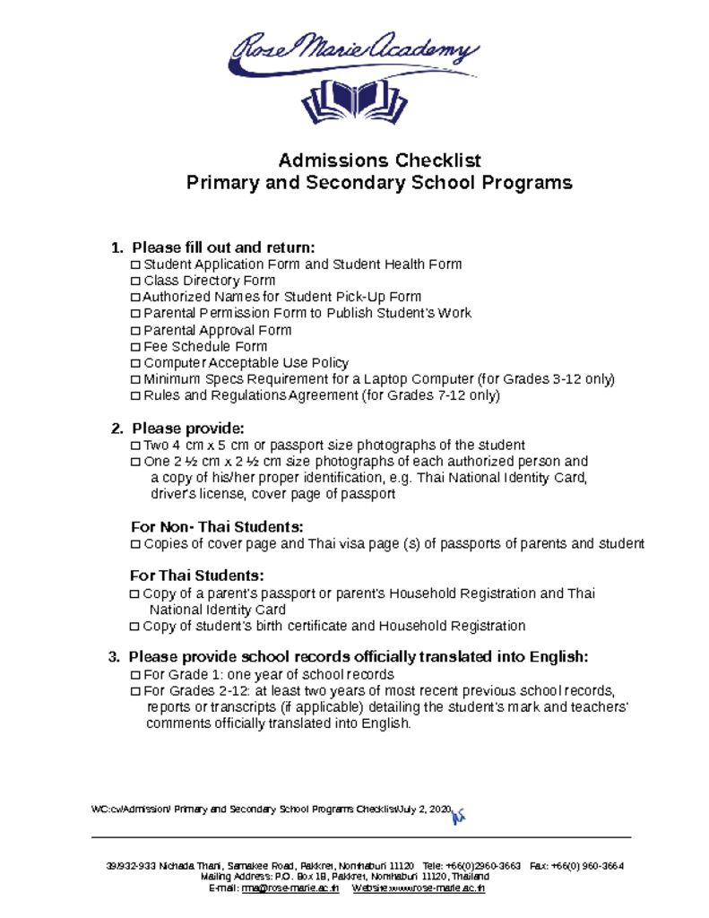 thumbnail of Admissions_Checklist_Primary-High School