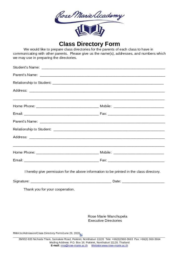 thumbnail of Class_Directory_Form