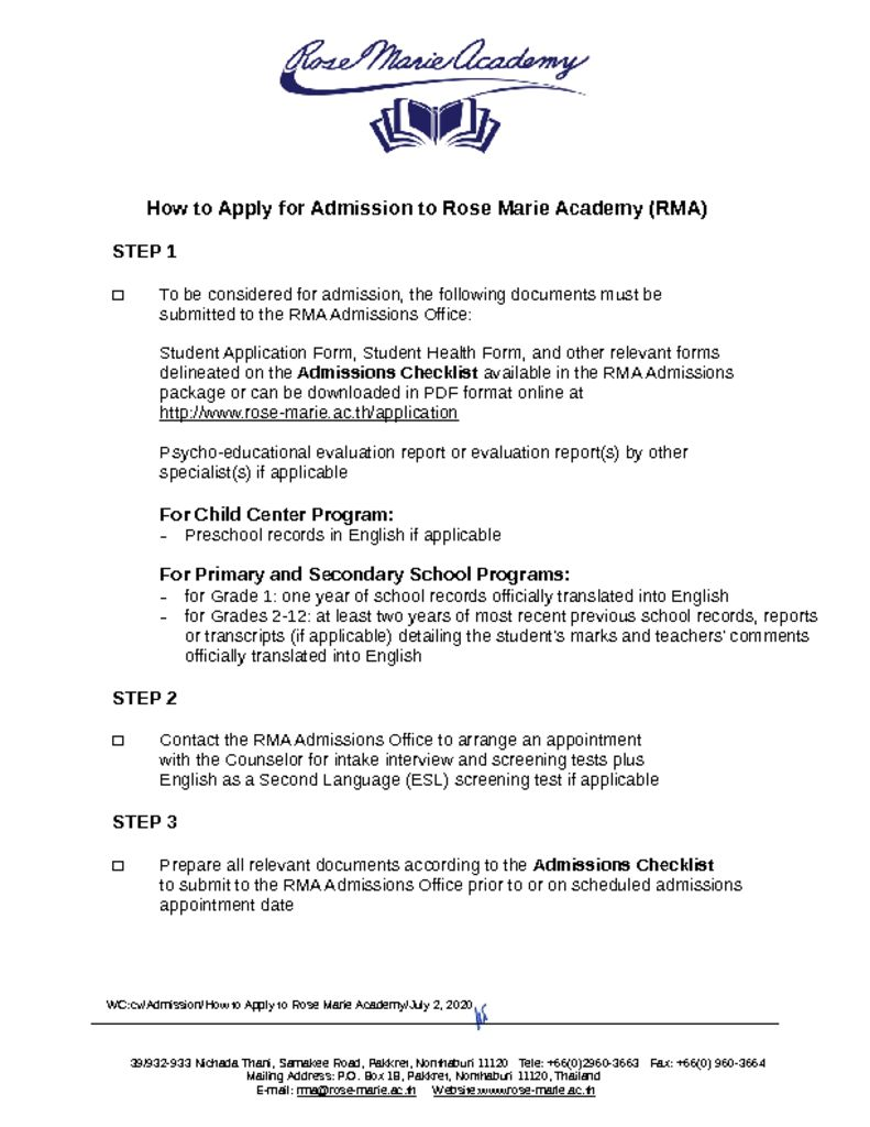 thumbnail of How to Apply for Admission to Rose Marie Academy
