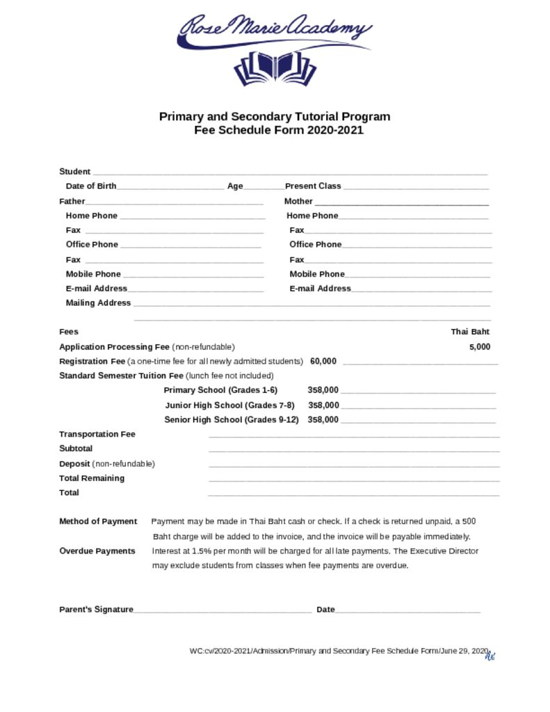 thumbnail of Primary_and_Secondary_Fee_Schedule_Form_2020_2021